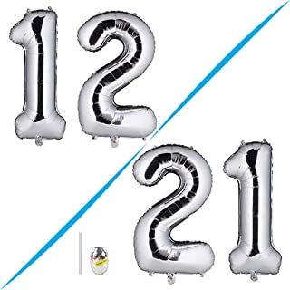 Huture 40 Inches Jumbo Digital Number Balloon Huge Giant Balloon Foil Mylar Balloons for Birthday Party Wedding Bridal Shower Engagement Photo Shoot Anniversary, Number 12 Silver Balloon