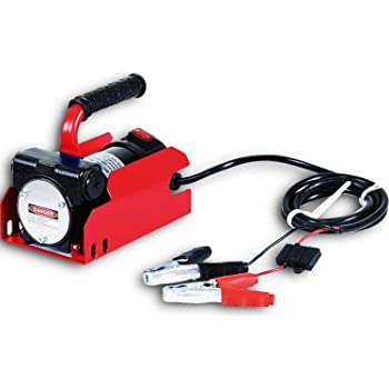 FUELWORKS Fuel Transfer Pump Portable 10GPM/40LPM (for Diesel Only) Heavy Duty Electric DC 12V Alligator Clamps Included (Not for Gasoline)