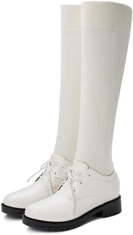 QSCQ Womens Chunky Block Heels Comfortab Knee Durable High Max Latest item 53% OFF Boots