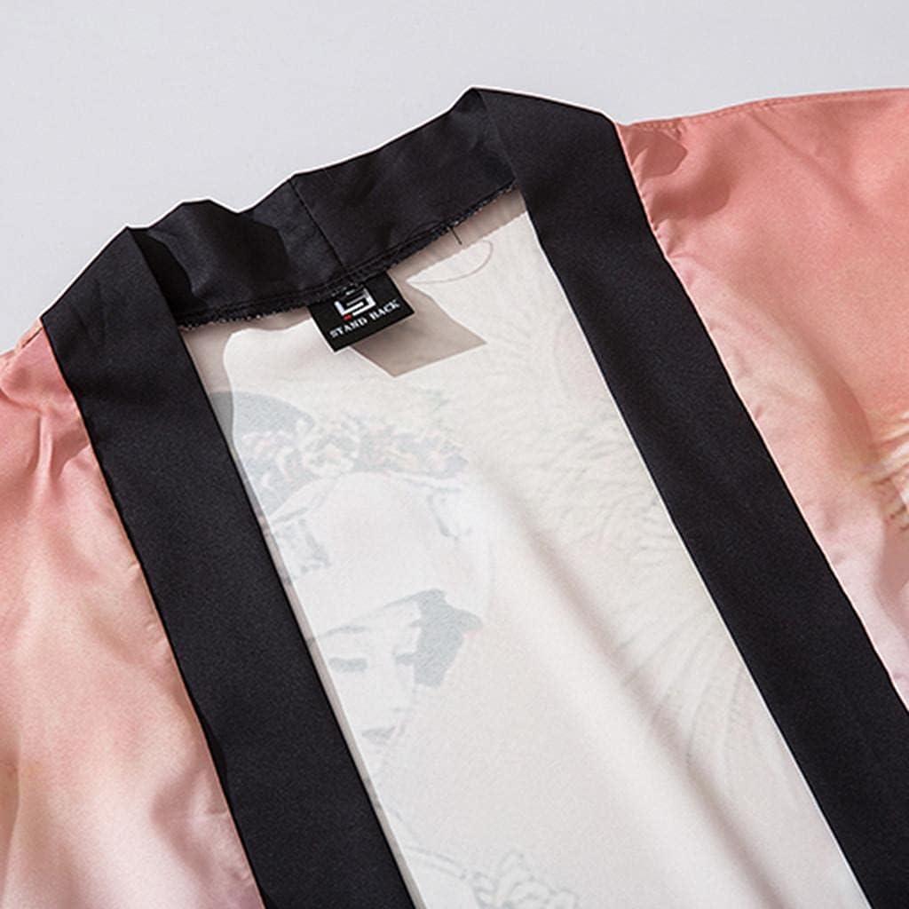 Unisex Men Japanese Kimono Coat Loose 3/4 Sleeve Bird Blossom Print Open Front Cardigan Tops Outwear Yukata for Women Girls