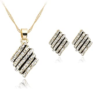 Wonderful Cut Wedding Rhinestones Pendent Necklace Earrings Gold Plated Jewelry Set