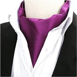 Men's Solid Color Silk Cravat Ties Jacquard Woven Casual Handmade Wedding Ascot