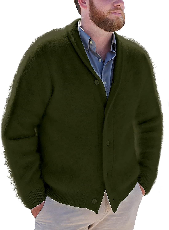 Pretifeel Mens Shawl Collar Knit Cardigan Sweater Chunky Button Down Ribbed Fluffy Fall Winter Warm Outwear