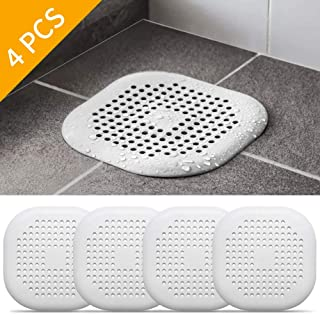 4 Pcs Silicone Shower Drain Hair Catcher, Square Silicone Adsorbability Sink Strainer, Kitchen Sink Strainer, Shower Drain Cover for Bathroom and Drain Cover Hair Trap