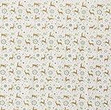 Stoff Meterware Baumwolle grau gold Hirsch Sterne