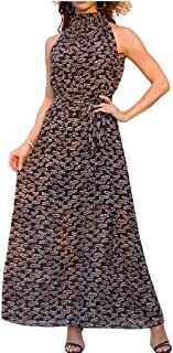 Whitive Womens Nightclub Flowy Sling Banquet Leopard Full Length Dress