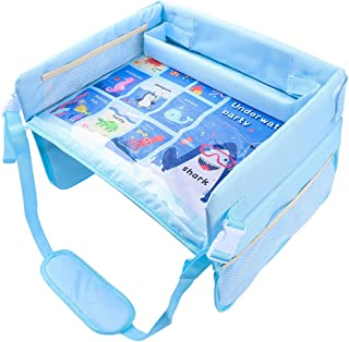 NC Multifunction Travel Tray for Toddler Kids Car Seat Tray Travel Activity Lap Tray Stroller Trip Plane Portable Play Sna...