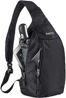 Lightweight Waterproof Sling Bag 500D Nylon Slim Crossbody Shoulder Sling Backpack for Men and Women (Black)