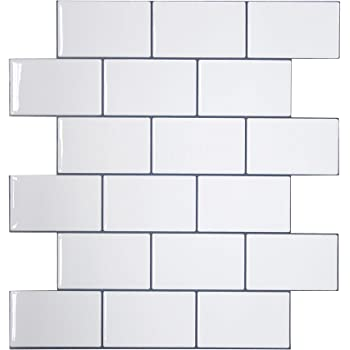 "Crystiles 12""x12"" Subway White Vinyl Peel and Stick Backsplash Tile, Pro Series Thicker Version, 4-Sheet Pack"