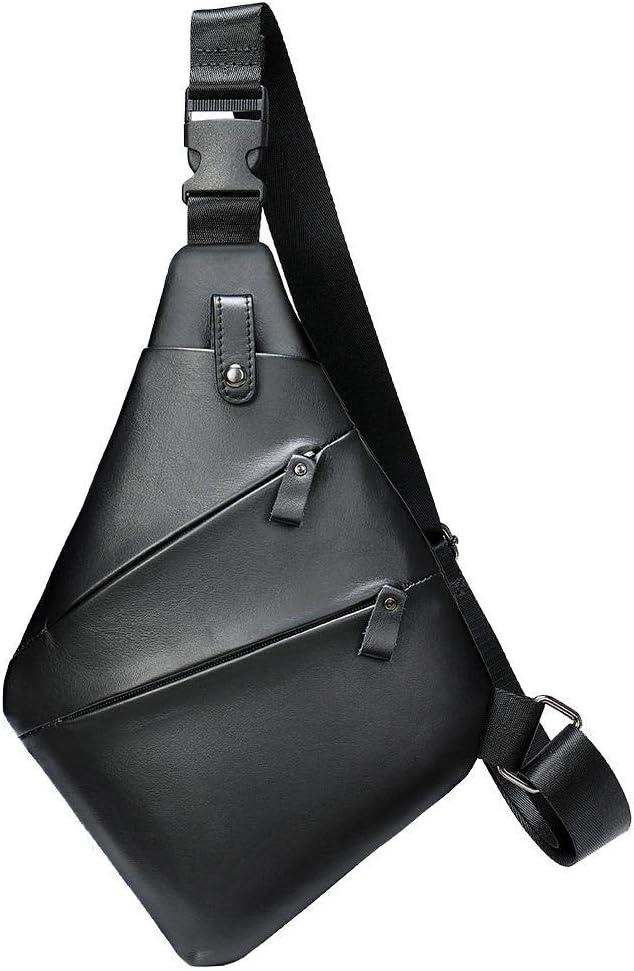 Elegant 100% quality warranty! Men's Leather Chest Bag Messenge Multifunctional Outdoor