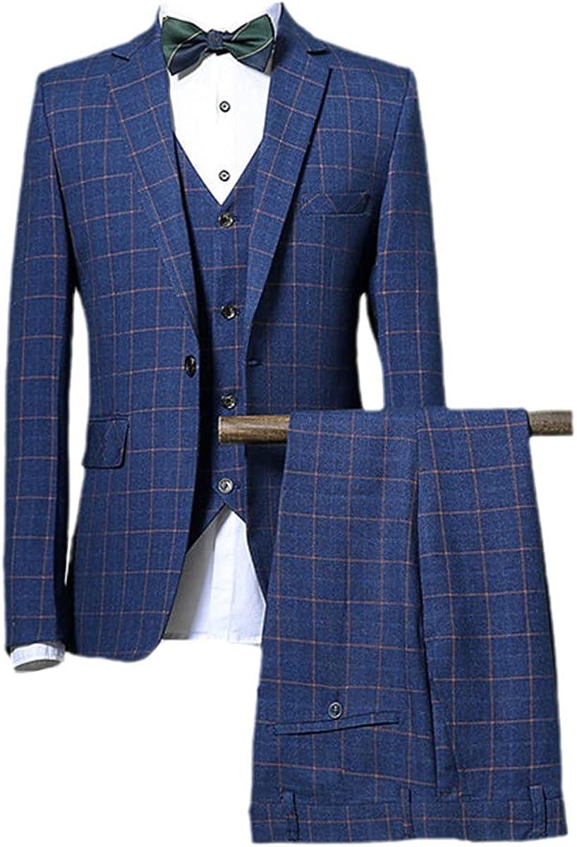 Suit Jacket Pants Vest Suit Spring and Autumn Fashion Men's Casual Business Plaid 3-Piece Set