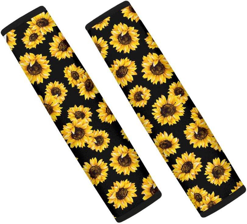 INSTANTARTS 2 Piece Sunflower Car Seat Belt Covers,Comfort Multifunction Kids Shoulder Neck Pads for Most Cars,SUV,Sedan,Van