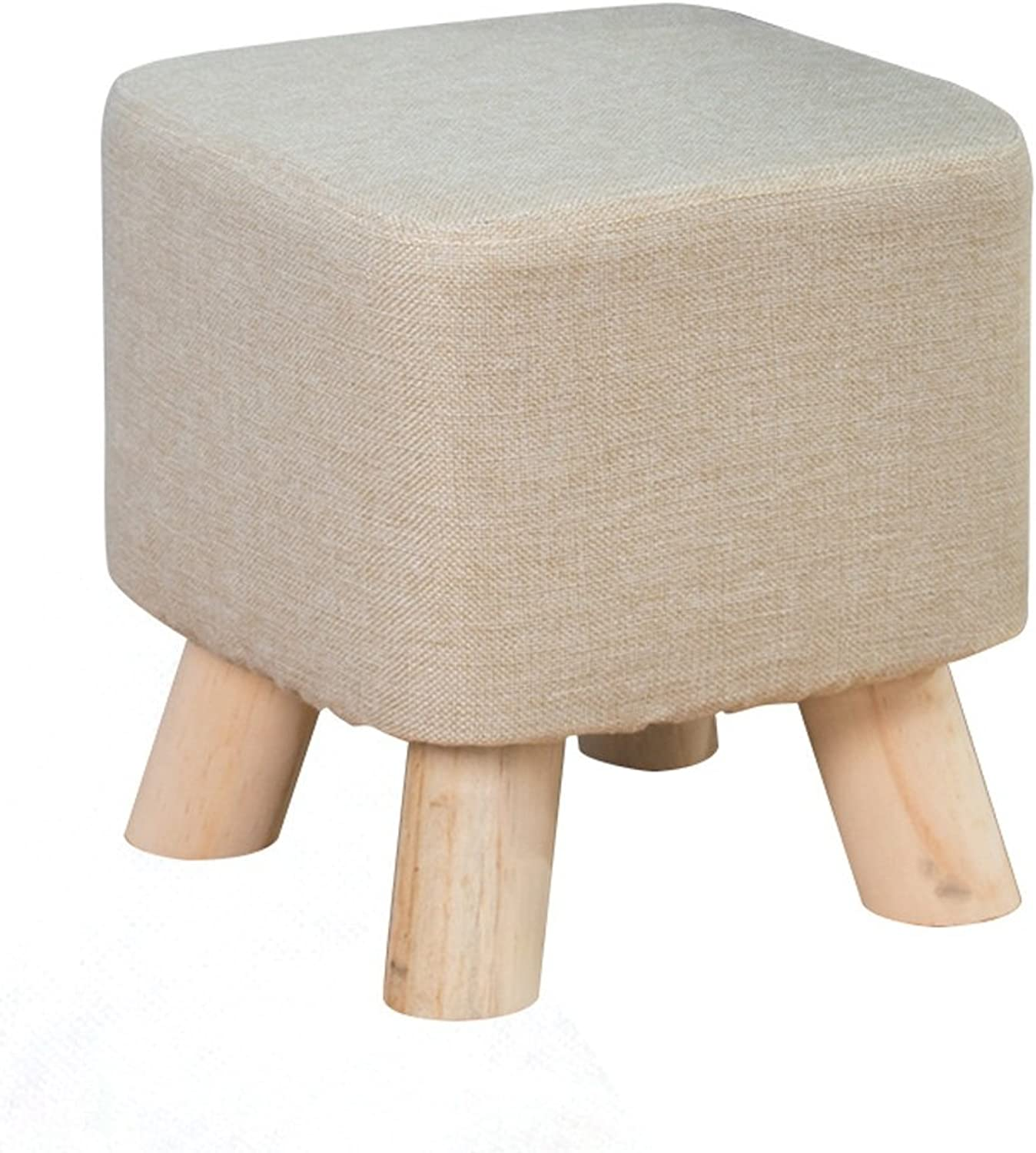 Solid Wood shoes Changing Stools Fashionable Household Low Square Stools Solid Wood Chair Foot (color   Beige)