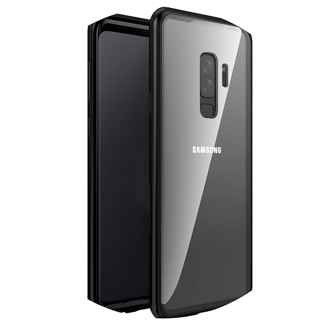 Adsorption Phone Case for Samsung Galaxy S9 S8 Plus Note 9 8 Metal Magnet Screen Protector Tempered Glass Flip Cover,Black,for Huawei P20 Pro,No Front Glass