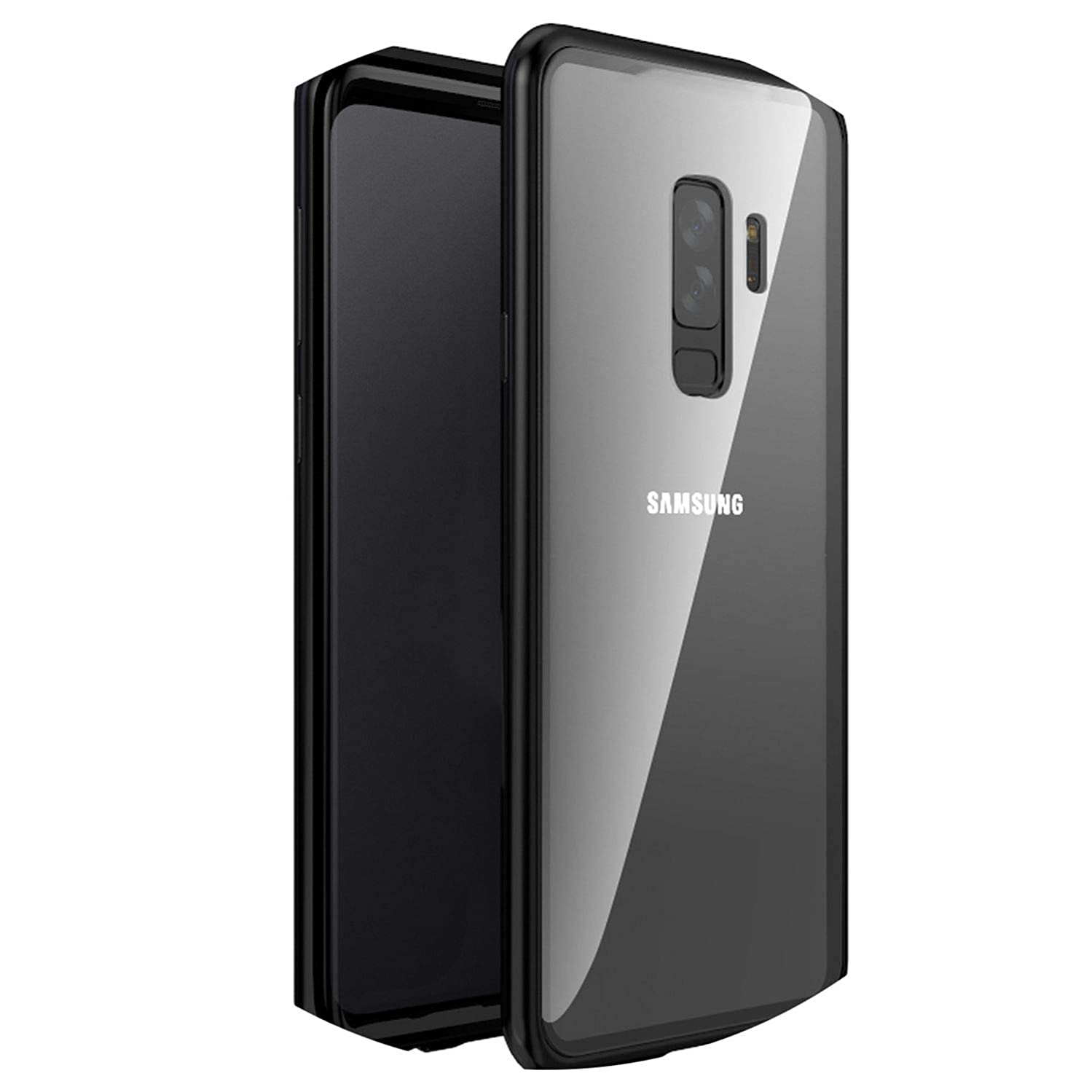 Adsorption Phone Case for Samsung Galaxy S9 S8 Plus Note 9 8 Metal Magnet Screen Protector Tempered Glass Flip Cover,Black,for iPhone X,No Front Glass