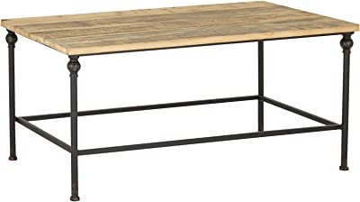 "Deco 79 Rustic Wood and Metal Coffee Table, 23""W x 19""H, Brown, Black"