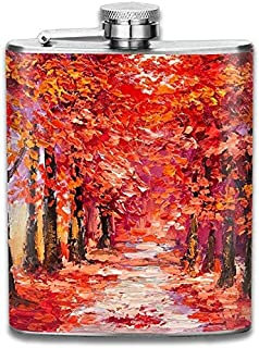 Eybfrre Oil Painting Colorful Autumn Trees Impressionism Art 304 Stainless Steel Flask 7oz
