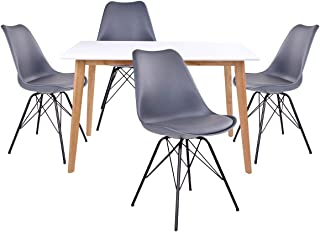 AltoBuy Gram - Ensemble Table Naturelle et Blanche + 4 Chaises Grises