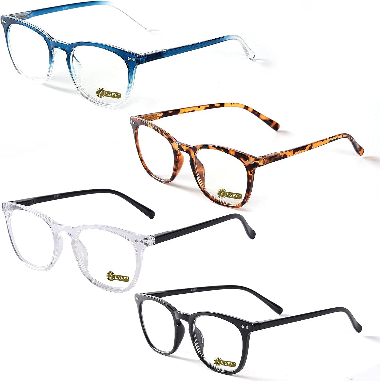 LUFF Anti Luz Azul Gafas de Lectura Hombre Mujer - Moda Claro Gafas de Computadora Ligeras Para Elegante Optics Presbyopic Filtro Antideslumbrante con Bisagra de Resorte Duradero 4PACK