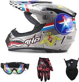 <h2>Motorradhelm, Outdoor-Dirt-Fahrradhelme, Fullface-Motocross-Offroad-Helm Four Seasons Universal Handschuhe, Brille, Maske, 4-teiliger Satz</h2>