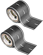 PlayTape Black Road - 2 Pack of Road Car Tape Great for Kids, Sticker Roll for Cars Track and Train Sets, Stick to Floors and Walls, Quick Cleanup, Children Toys Birthday Gift (30'x2 - 2 Rolls, Black)