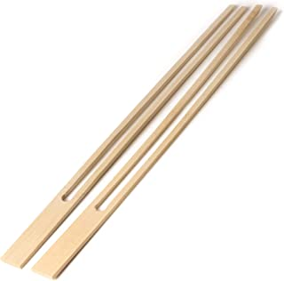 BambooMN 18mm Wide Bamboo Double Prong Fondue Sticks Barbecue Grilling Kabob Skewers, 11.8