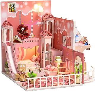 DIY木製ドールハウス手作りミニチュアキットピンクロフトモデル家具(夢の子供時代) (Color : Multi-colored, Size : 18*18.5*17.6cm)
