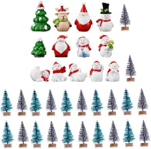 35 Pcs Mini Christmas Trees Sisal with Wood Base for DIY Crafting,Christmas Miniature Ornaments Kit,Snowmen,Reindeer,Santa...