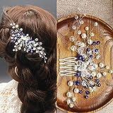 Peineta nupcial Kercisbeauty con cuentas de cristal azules, tocado de estilo vintage para novia, adorno para el cabello con flores para novia, accesorio para el pelo