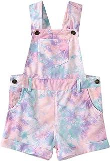 Baby Girls' Tie Dye Shortalls Cotton Suspender Bib Overalls Romper Shorts Jumpsuit Shortalls