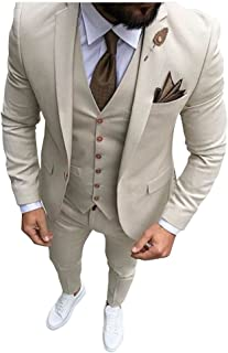 a9607051d1342 Men Beige Tan Ivory 3-Pieces Tailored Wedding Notch Lapel Tuxedo Groomsmen Men  Slim Fit
