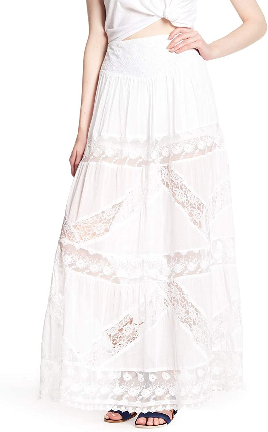 Free People Womens Lace Short Lined Maxi Skirt