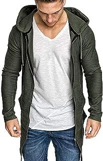 LENXH Men's Sweater Zipper Jacket Stitching Sweater Hooded Jacket Long Coat Shirt Cardigan Coat