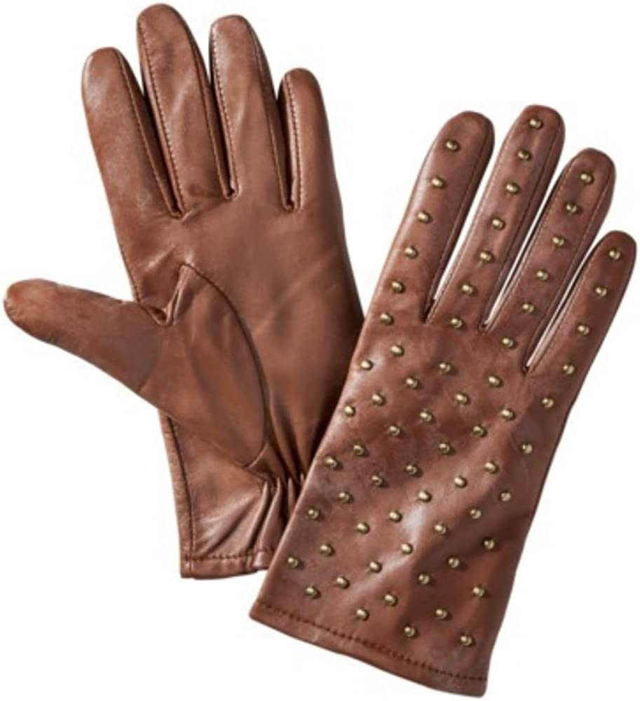Womens Brown Leather Gloves with Metal Stud Fronts Small/Medium