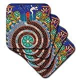 3dRose Folk Arte Huichol, Santa Fe, Nuevo mexico-us32jmr1118-julien McRoberts-Ceramic para Azulejos Posavasos, Juego de 4(CST 92754_ 3), set-of-4-ceramic