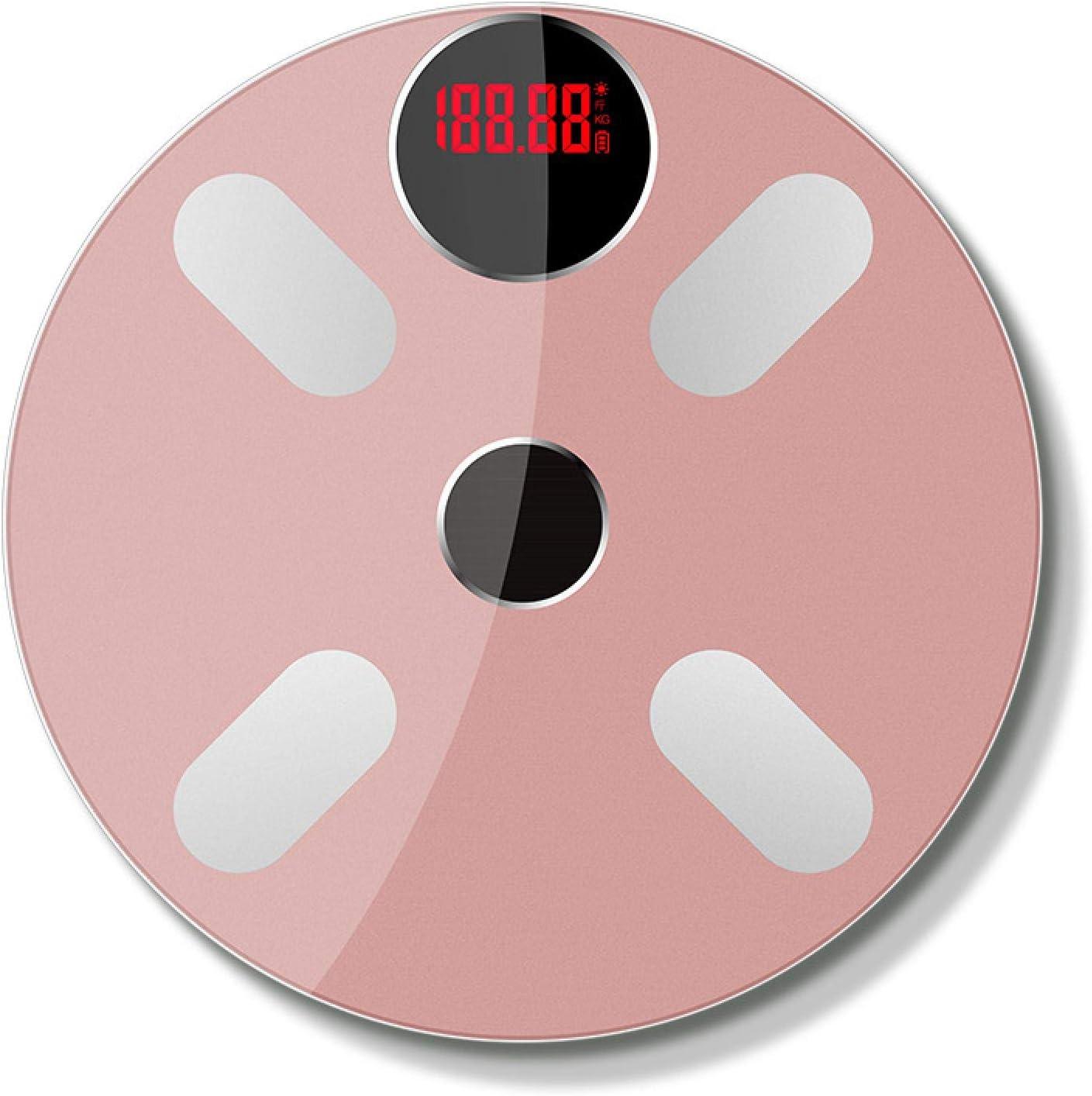 Báscula de grasa corporal con Bluetooth IMC Escala de equilibrio de balanza electrónica inteligente LED digital balanza de peso corporal balanza de baño rosa