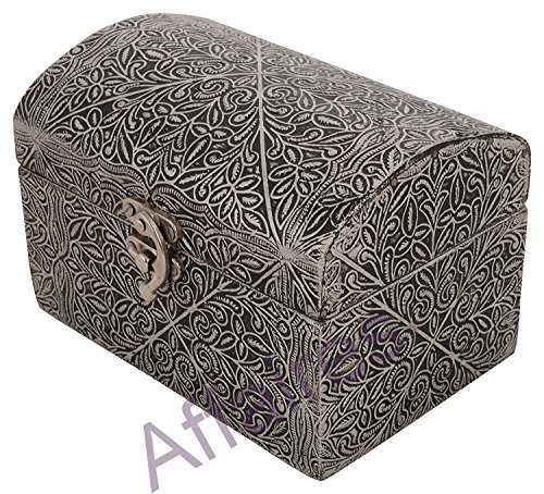 affaires Wooden-Metal Silver cover Multipurpose Jewelry Box/Organizer Handmade : 6x4x4 inches,Thanks Giving M-40018