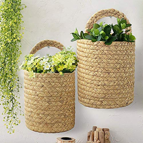 æ— Paquete de 2 macetas colgantes para flores de pasto marino, cestas de flores de paja, maceta tejida con asa para decoración del hogar, (S Khaki)