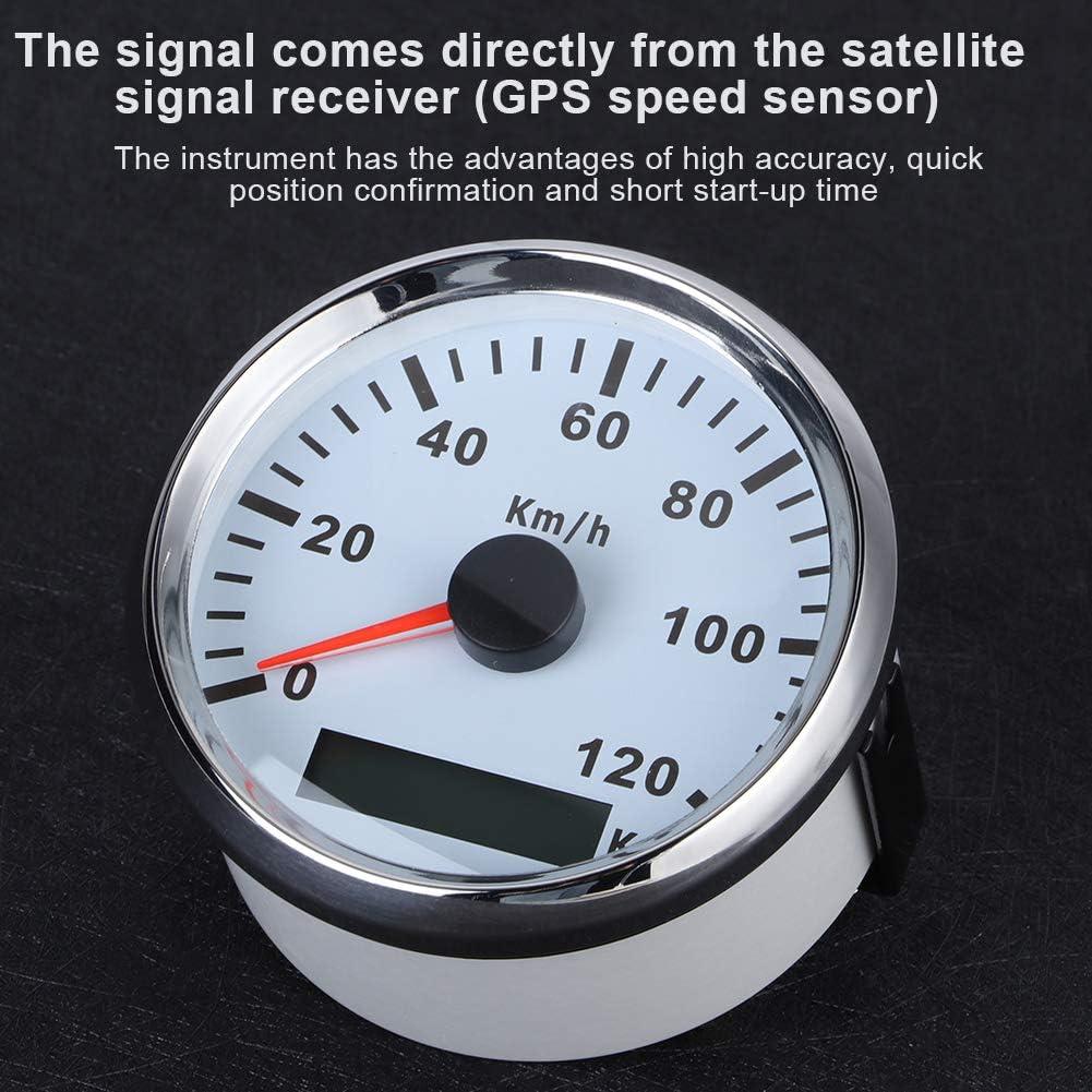 Quadrante bianco con cornice argento EBTOOLS Tachimetro GPS per barca 85 mm//3,3 pollici Tachimetro GPS universale Misuratore antiappannamento impermeabile 0-120 km//h per motore per barca per camion