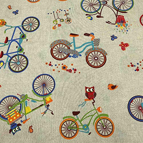 Kt KILOtela Tela de loneta Estampada - Retal de 100 cm Largo x 280 cm Ancho   Bicicletas, búhos - Multicolor, Beige ─ 1 Metro