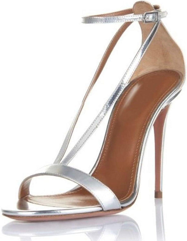 Meiguiyuan High Heel Sandals Sexy Buckle Thin Heels Summer Catwalk Show Designer shoes Women Wedding Sandals