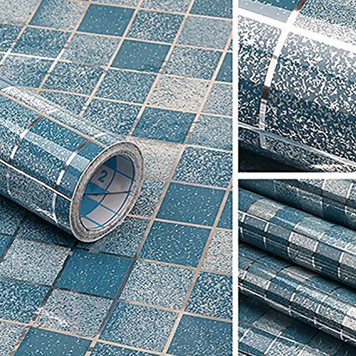 Papel de Pared a Cuadros Autoadhesivo Impermeable para Cocina de baño Pegatinas de Papel de Aluminio Impermeables Pegatinas de Pared de Azulejos antiaceite