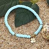 Sosa 4mm Vinyl Heishi Discs Bead Stretch Bracelet para Mujer Chic Heart Bracelet Polymer Clay Surf Beach Jewelry, Azul Claro