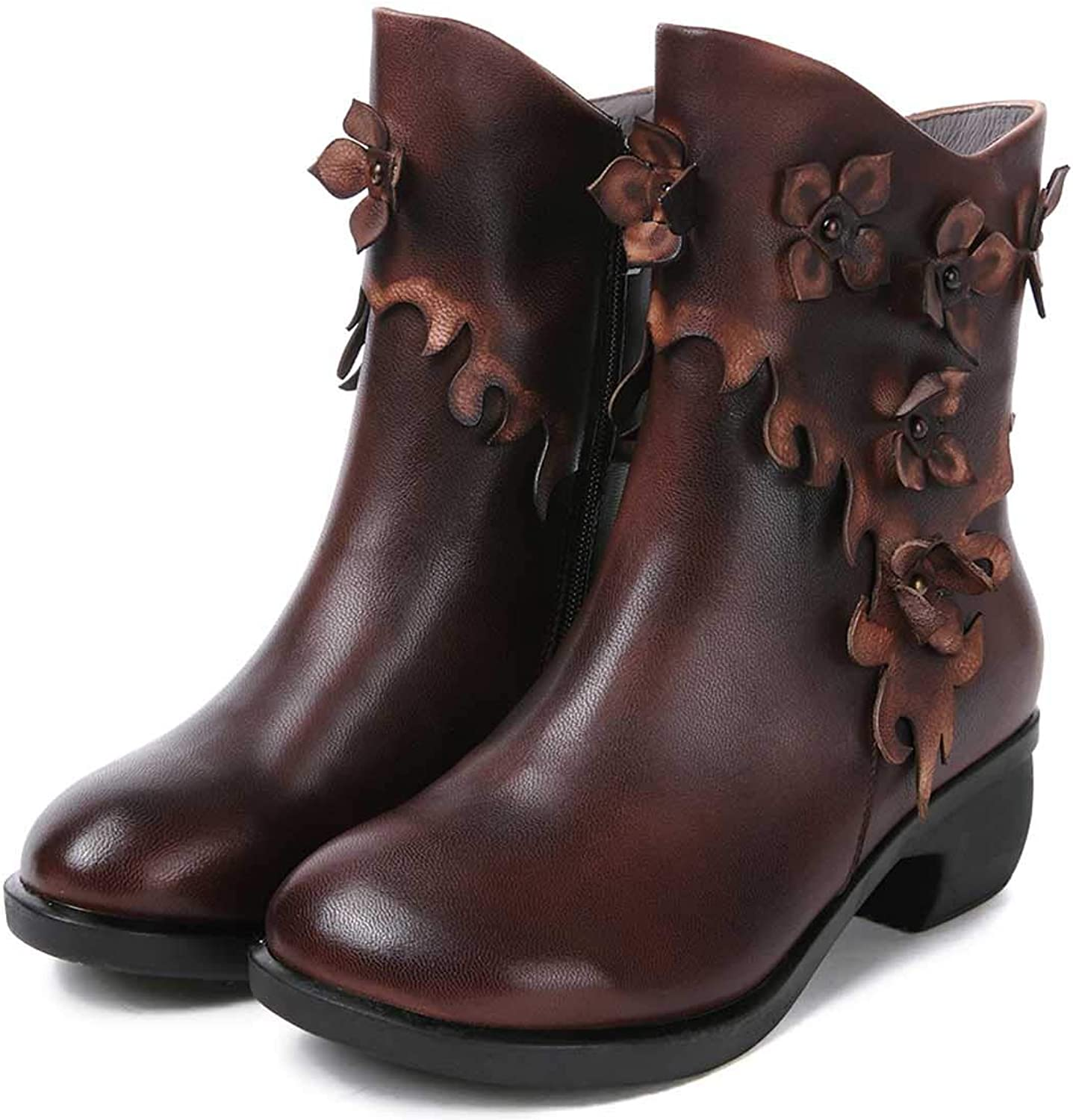 Leather Vintage Flower Decoration Women's Boots, Chelsea Low Heel Western Ankle Boots