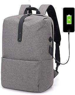 Fyuanmeiibb Backpack, Schoolbags Backpack Laptop USB Headset Leisure Shoulder Bag (Color : Grey)