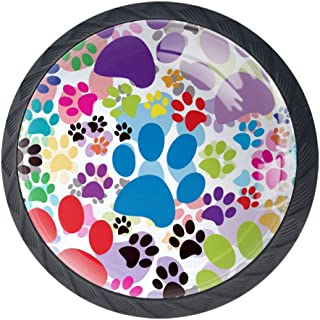Anmarco Colorful Cat Dog Paws Footprints Kitchen Cabinet Knobs Decorative Knobs Cabinet Closet Drawers Dresser Pull Handle 4pcs