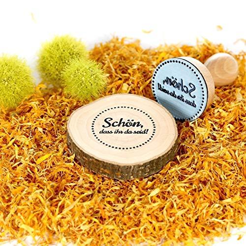 Bütic Schön-Stempel Holzstempel Rundstempel, Stempeltext:Schön.DASS Ihr da seid!, Durchmesser:Ø 35mm