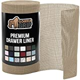 Gorilla Grip Original Drawer and Shelf Liner, Non Adhesive Roll, 12 Inch x 20 FT, Durable and Strong, for Drawers, Shelves, Cabinets, Storage, Kitchen and Desks, Beige