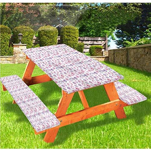 Diamonds - Mantel ajustable para mesa de picnic y banco, diseño de piedras de corazón de acuarela con borde elástico, 28 x 72 pulgadas, juego de 3 piezas para camping, comedor, exterior, parqu