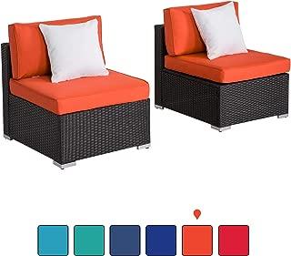 Kinsunny Peach Tree Outdoor Loveseat 2 PCs Patio Furniture Set, Wicker Armless Sofa Chairs Black Rattan Thick Cushions Infinitely Combination